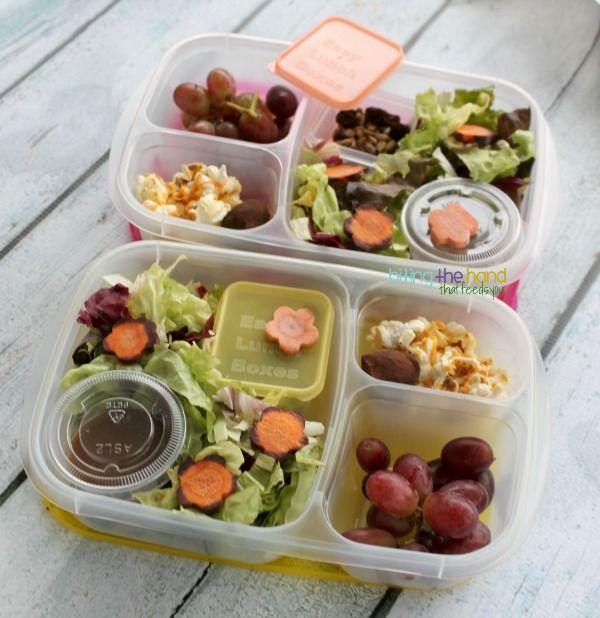 Organic salad (red lettuce, cabbage, radicchio, orange and purple carrots,) add-ons (organic raisins, sunflower seeds, hemp hearts,) Rosema...