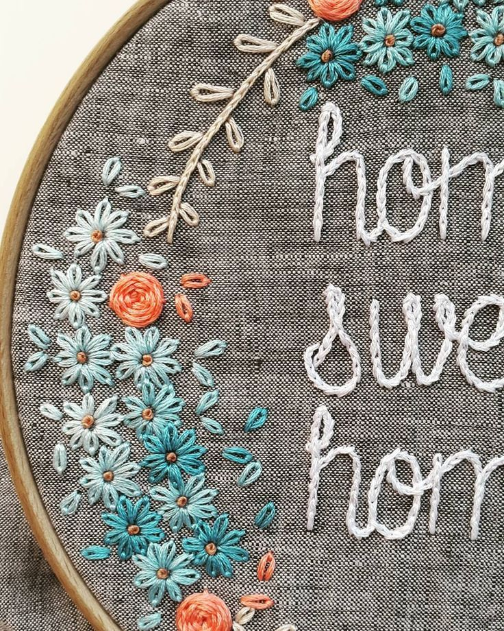 Lovely little flowers in this embroidery hoop.