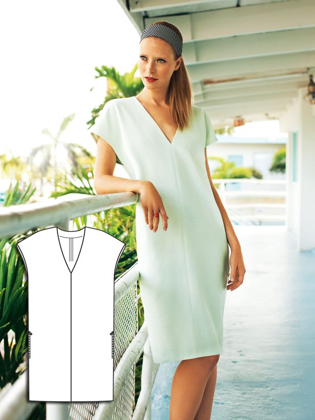 Vacation Time: 12 New Patterns – Sewing Blog   BurdaStyle.com - similar to my black Cynthia Rowley Dress - try with a stretch crepe and matching mesh along the v neck