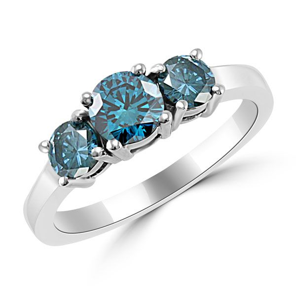 Angara Classic Three Stone Princess Blue Diamond Ring(5.5mm) a4EzMpmKD