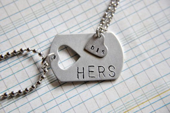 His and Hers Necklaces - Couples Necklace Set - Gifts for Couples - Dog Tag Style Necklace - His and Hers Jewelry - Personalized Jewelry