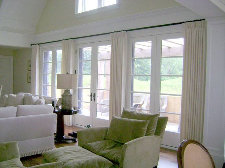 White with fresh green multiple french doors wih drapery for Green french doors