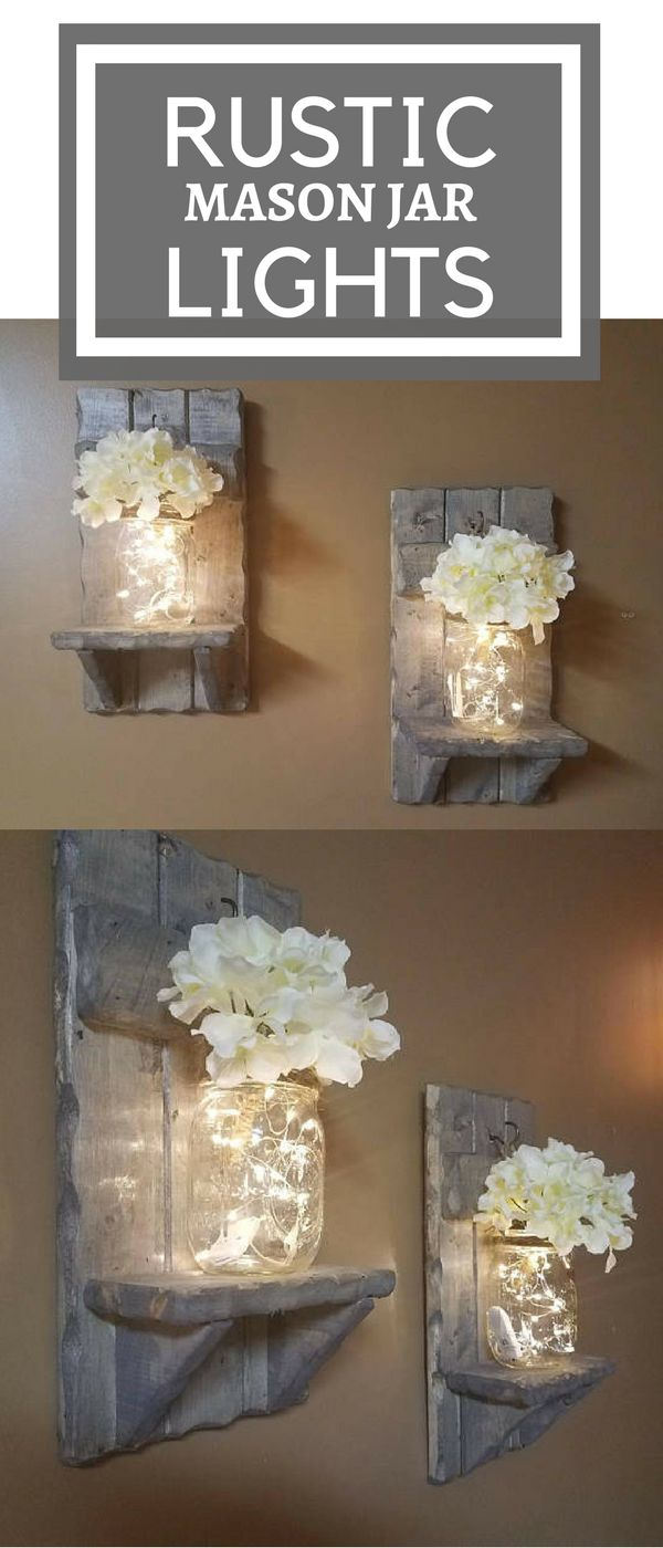 Rustic Home Decor, Mason Jar vase, Sconces, Set of 2 Sconces,House warming Gift, Mason Jar with lights, Firefly lights, Farmhouse decor #afflink #rusticdecor #homedecor #farmhouse #masonjar #lights