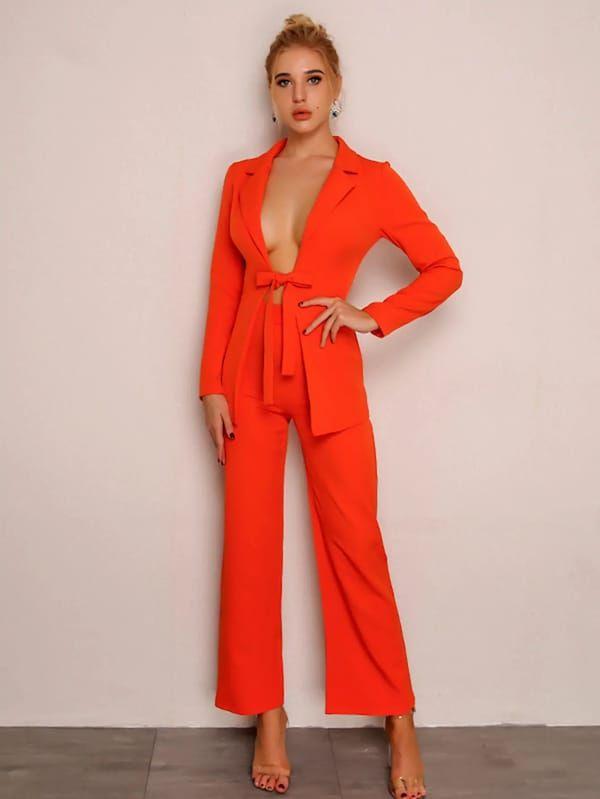 guantitate limitată calitate fiabilă cel mai bun site web Joyfunear Bow Tie Front Blazer and Pants Set -SHEIN(SHEINSIDE ...