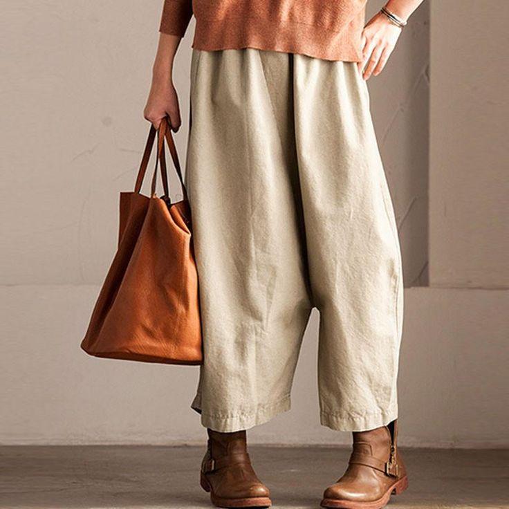 Casual Irregular Cotton Angle-length Women Khaki Pants - Buykud