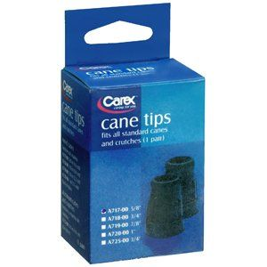 "CANE TIP 5/8"" BLACK A717 1 per pack by APEX-CAREX HEALTHCARE *** by CAREX HEALTHCARE. $3.00. Provides skid-resistant traction for cane tip replacement.. Made of 100% natural rubber and are metal reinforced.. 1 pair per box 5/8 inch black color cane tips.. Carex Cane Tips 5/8"".Also fits 5/8"" cane.100% Natural rubber with metal reinforced base. Contains 1 Pair"