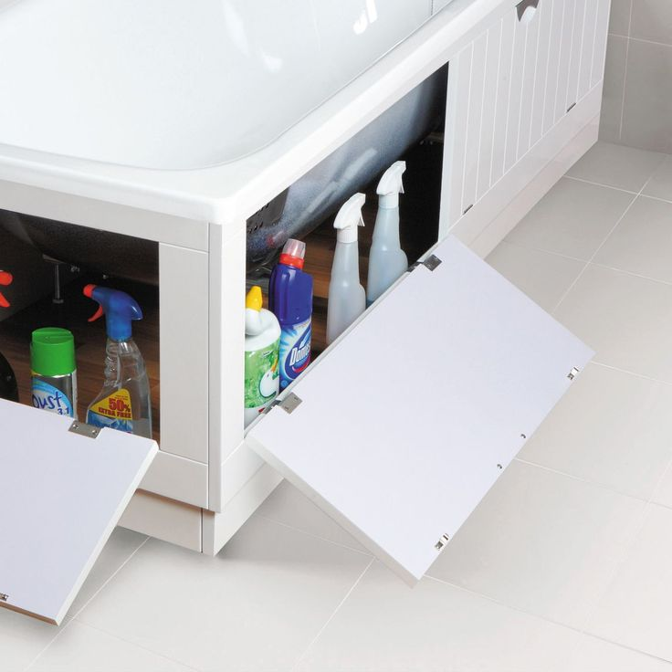 Cooke & Lewis Tongue & Groove White Bath Storage Front Panel (W)700mm (L)1700mm | Departments | DIY at B&Q
