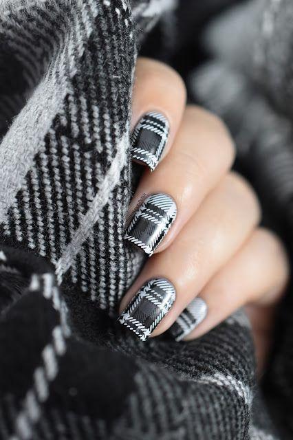 épinglé par ❃❀CM❁✿Grey tartan nail art tutorial - Plaid nails - winter nails - fabric nails - stamping - BPL-041