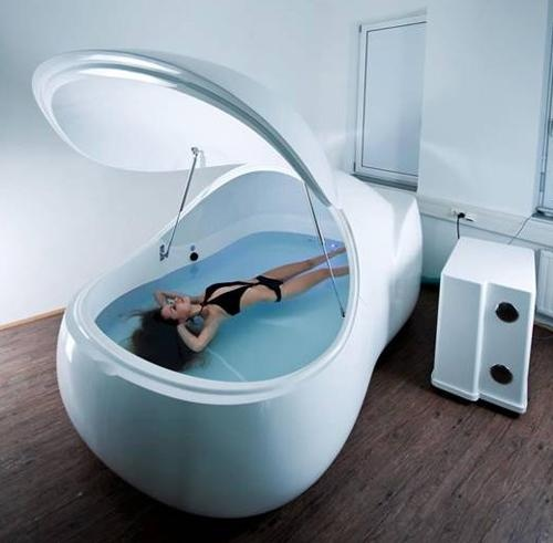 Floating for stress relief and relaxation. You float in a dark tank of epsom salt and water with earplugs in for one hour. Supposedly as beneficial as 4 hours of deep sleep.