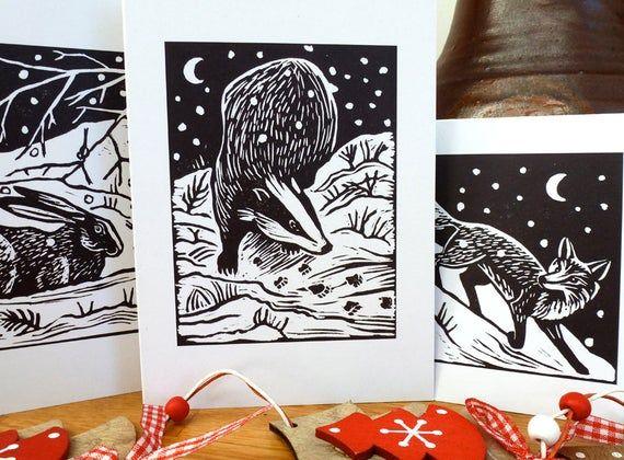 x6 animal Christmas cards: 3 lino print animal designs  Badger