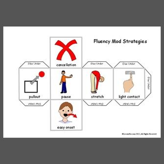 Use this dice to make practicing fluency modification strategies fun! Here are some brief definitions of each strategy: 1. Pullout: when caught in a moment of stutter, produce a pullout by easing...