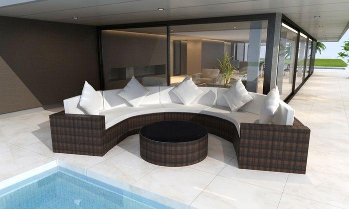 vida xl DCO (DE): Polyrattan-Sofa mit Tisch, Kissen, Sitz- und 5 Rückenpolstern in Schwarz oder Braun inkl. Versand