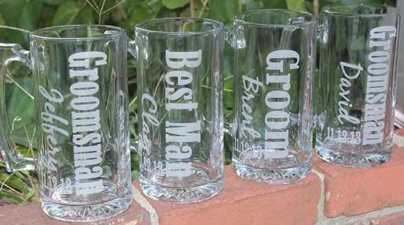 5 Personalized Groomsman Gift, Etched Beer Mug. Great Bachelor Party Idea,Groomsmen,Best Man,Father of Bride or Groom Gift