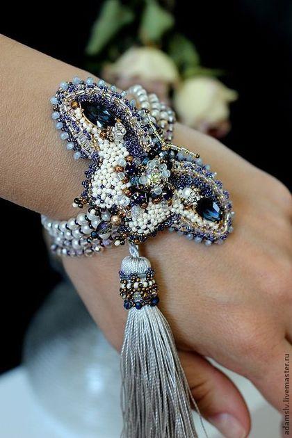 """Beaded bracelet / Браслеты ручной работы. Ярмарка Мастеров - ручная работа. Купить Браслет-трансформер """"Августа"""". Handmade. Тёмно-синий, вышитый браслет"""