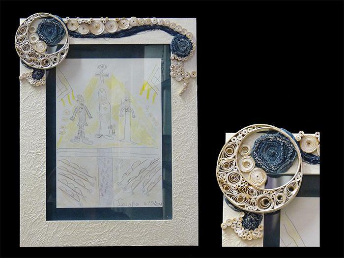 Cornice con vetro, realizzata interamente a mano con il solo utilizzo della carta..