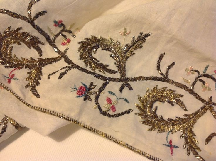 Antique tribal Turkish ethnic embroidery silver strings Turkey (m1207)