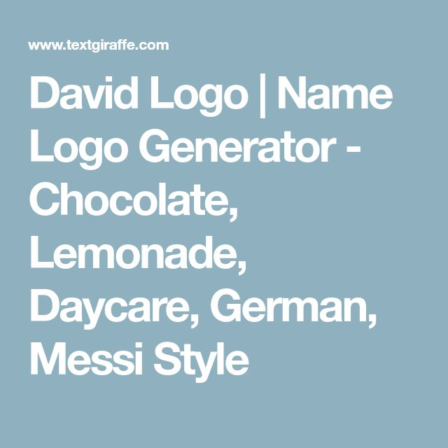 David Logo   Name Logo Generator - Chocolate, Lemonade, Daycare, German, Messi Style