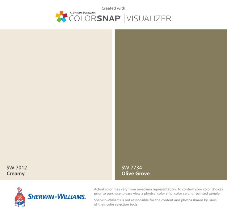 I found these colors with ColorSnap® Visualizer for iPhone by Sherwin-Williams:... Sherwin Williams Creamy