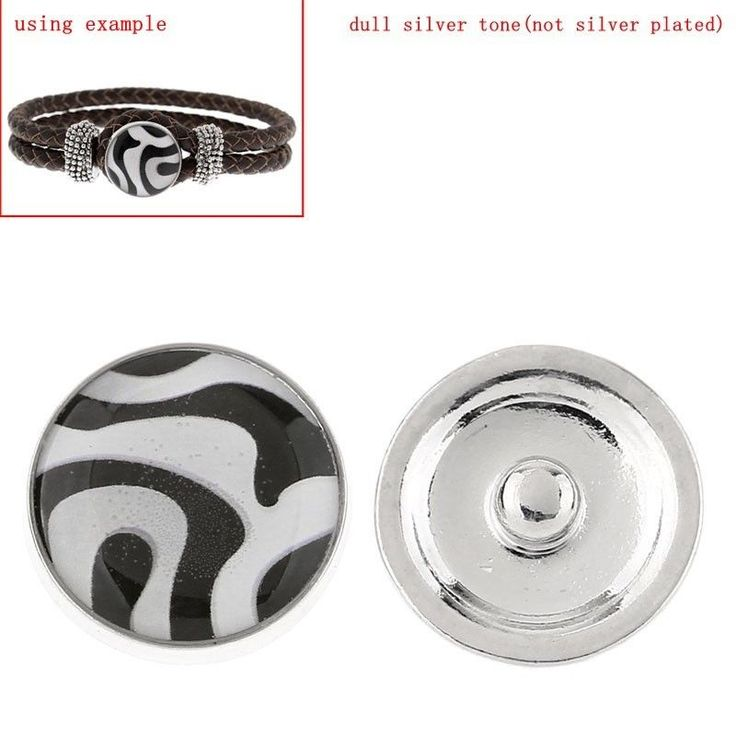 Glass Snap Button Jewel Chunk  Round Multicolour Zebra Pattern 1Pc