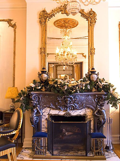 28 best images about mantel decor on pinterest for Traditional christmas decorating ideas