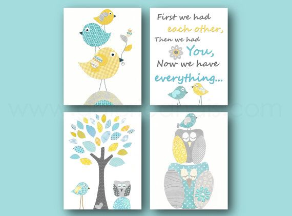 Aqua yellow blue and gray Nursery Art Baby nursery by GalerieAnais