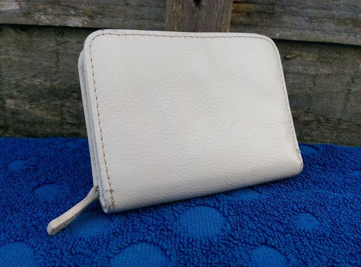 Marks & Spencer Womens White Leather Purse Compact Coin, Credit & Paper Money #MarksandSpencer #CoinPurse