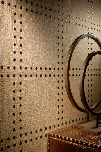Nailhead Detail On Burlap Fabric Wall Single Accent Wall