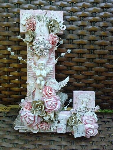 Altered wooden letter L shabby chic style i made for a friend