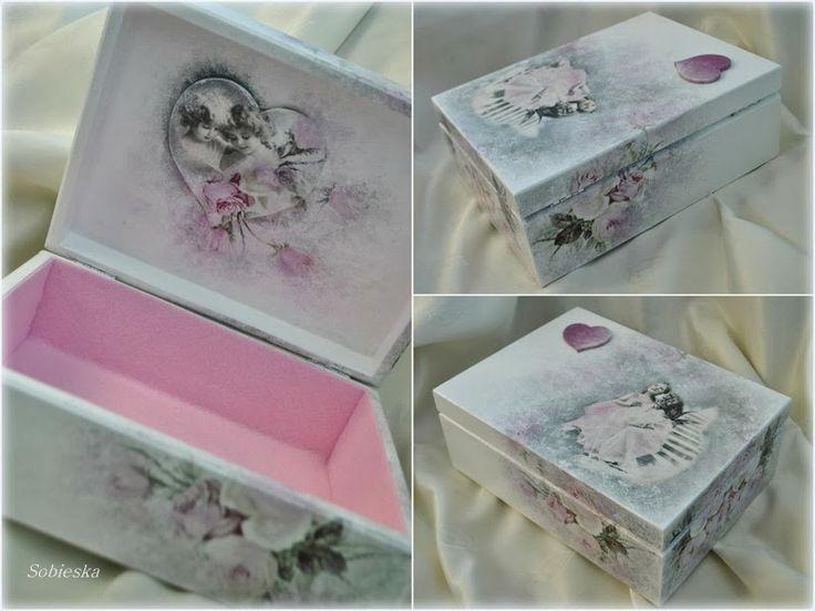 caixa com decoupagem romantica