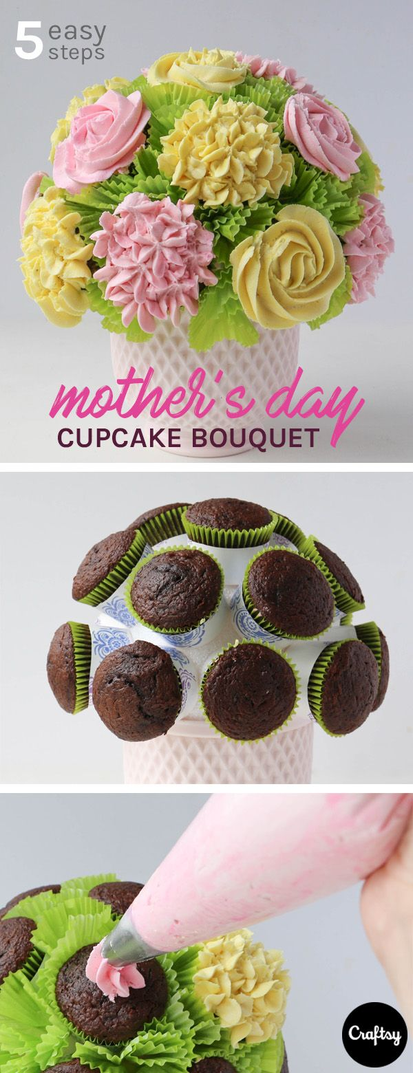 Make mom an unforgettable Mother's Day bouquet that won't go to waste! These tasty cupcakes give the edible illusion of flowers.