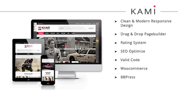 KAMI is a Magazine/Blog WordPress theme with a clean design and modern look. It is well suited for magazine, news, editorial, blog, photography or review it
