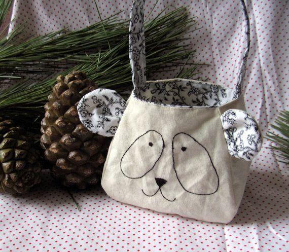 Panda Bear Bag custom made gift bag printed cotton by FruteJuce