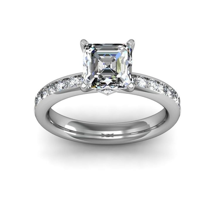 4.97 Ct Asscher Cut French Pave Wedding Band  - Click to find out more - http://gioweddingrings.com/4-97-ct-asscher-cut-french-pave-wedding-band/