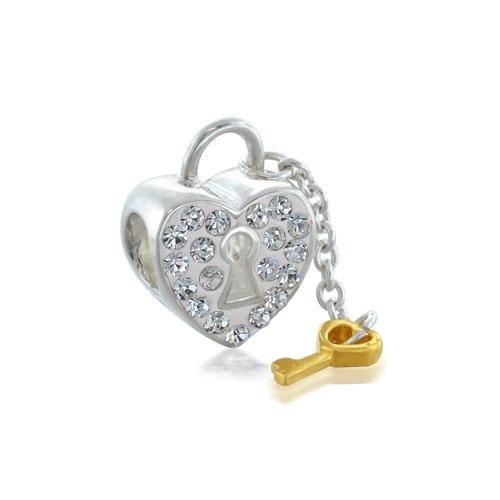 925 Silver Swarovski Crystal Heart Lock Key Dangle Charm Fits Pandora