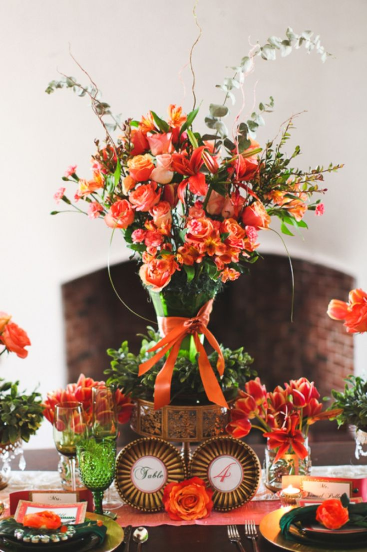 Orange centerpiece // photo by Birds of a Feather Photography