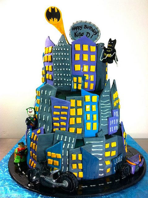 Batman Cake... love this idea for ONE TIER... It's overpowering as a whole cake