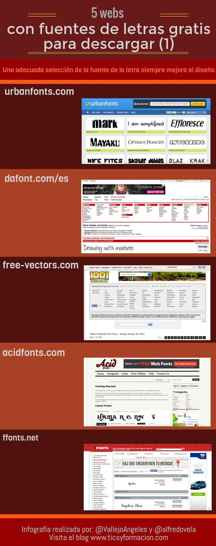 5 webs con fuentes de letras gratis (1) #infografia #infographic #design vía ticsyformacion.com