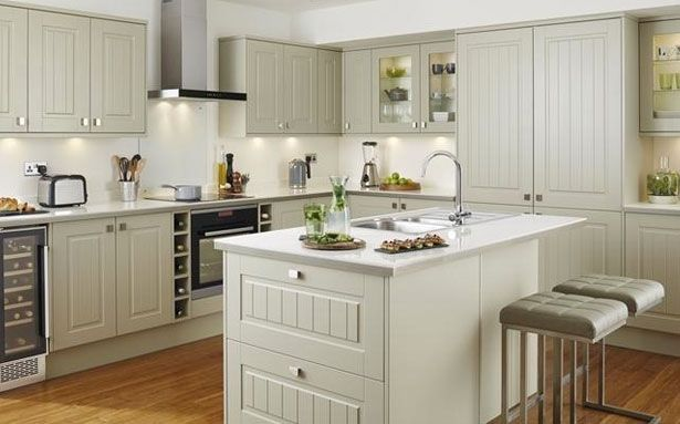 Howdens Joinery Burford Tongue and Groove Grey kitchen