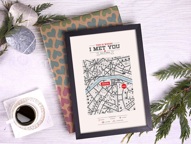 New York Map Anniversary Gift For Him Valentines Heart Paper Her
