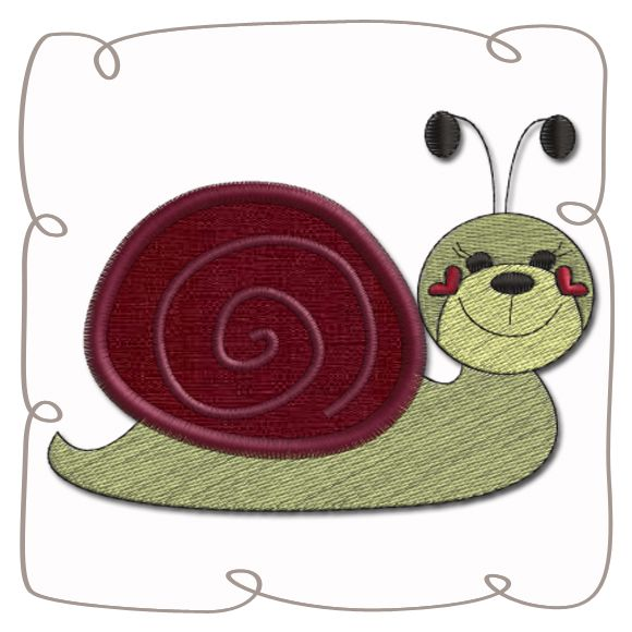 Snail Applique machine Embroidery Design Pattern-INSTANT DOWNLOAD
