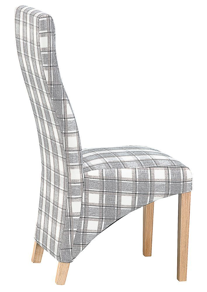 Padstow Grey Tartan Upholstered Dining Chair Chilternoakfurniture