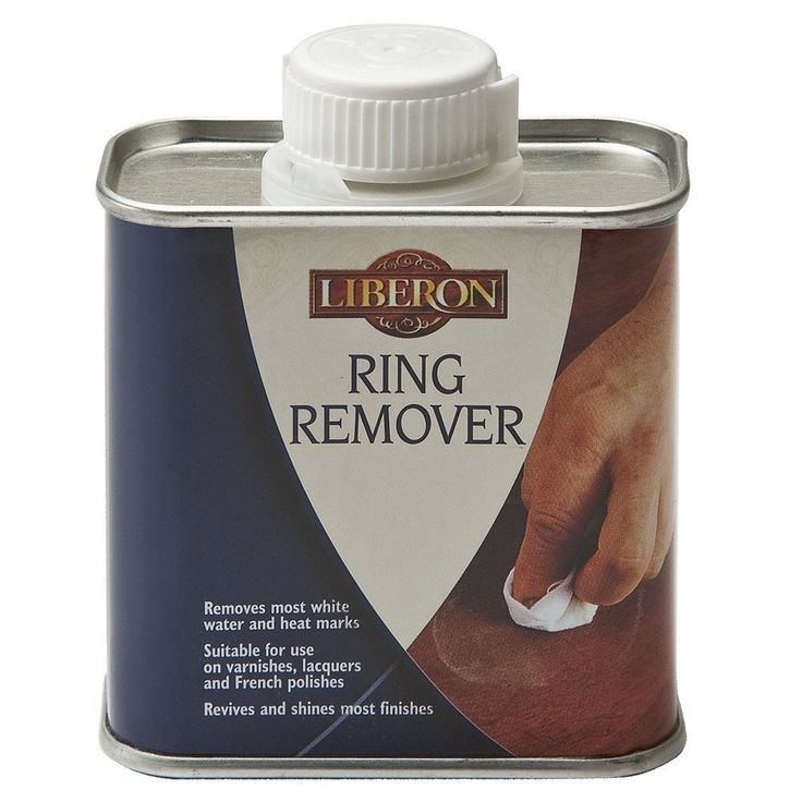 Ring Remover will remove most white heat and water marks from highly polished, hard surfaces, including varnish, French polish lacquer and modern hard finishes. It is suitable for use on teak, and will revive and shine most finishes. Removes most white water and heat marks Suitable for use on varnishes, lacquers and French polishes Safe to use on Teak Non-colouring Revives and shines most finishes