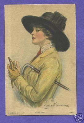 P5206 Clarence Underwood postcard Aurora, Yellow gloves