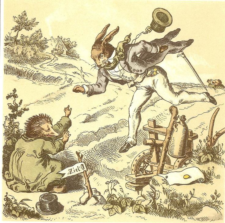 Der Hase und der Igel' - 'The Hare and the Hedgehog' by the Brothers Grimm illustrations by Gustav Süs, Hamburg: Broschek Verlag, 1855