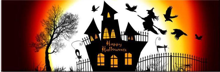 Dekoracje na ścianę na Halloween od bimago! Strasznie halloweenowy obraz z nawiedzonym zamkiem - idealny na październik :)