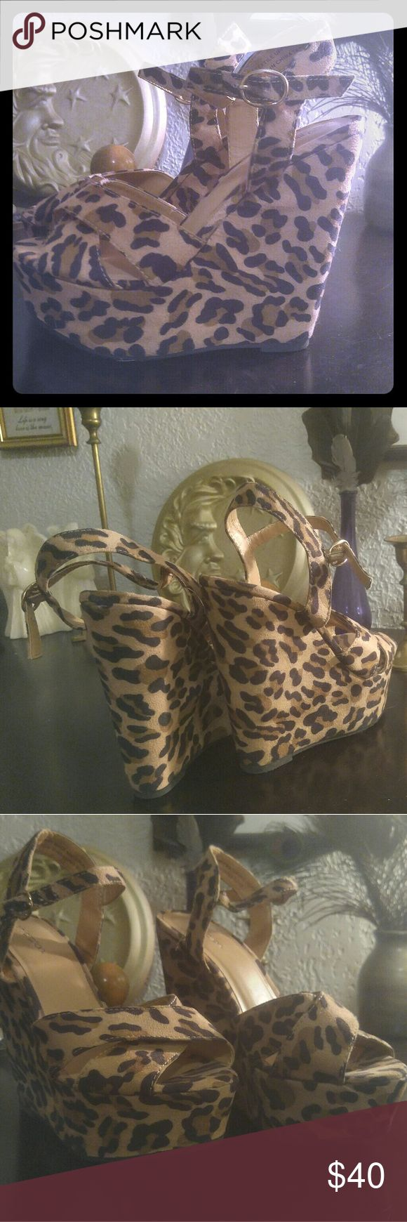 Adorable!! Leopard print wedges Faux suede..Perfect condition.. Worn only once Shoes Wedges
