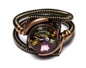 Steampunk Jewelry - RING - Volcano Swarovski Crystal - CatherinetteRings: Volcanoes Swarovski, Steampunk Style, Steam Punk, Rings Volcanoes, Swarovski Crystals, Steampunk Jewelry, Daniel Proulx, Jewelry Rings, Steampunk Rings