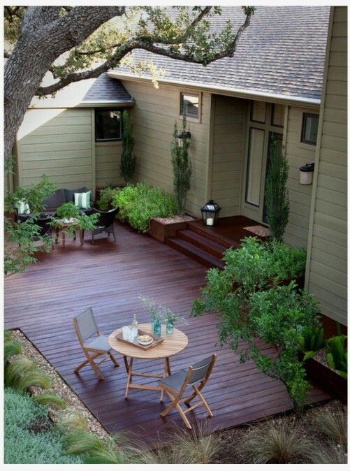 Ground level wooden patio/deck. | Small backyard decks ... on Wood Deck Ideas For Backyard id=52536