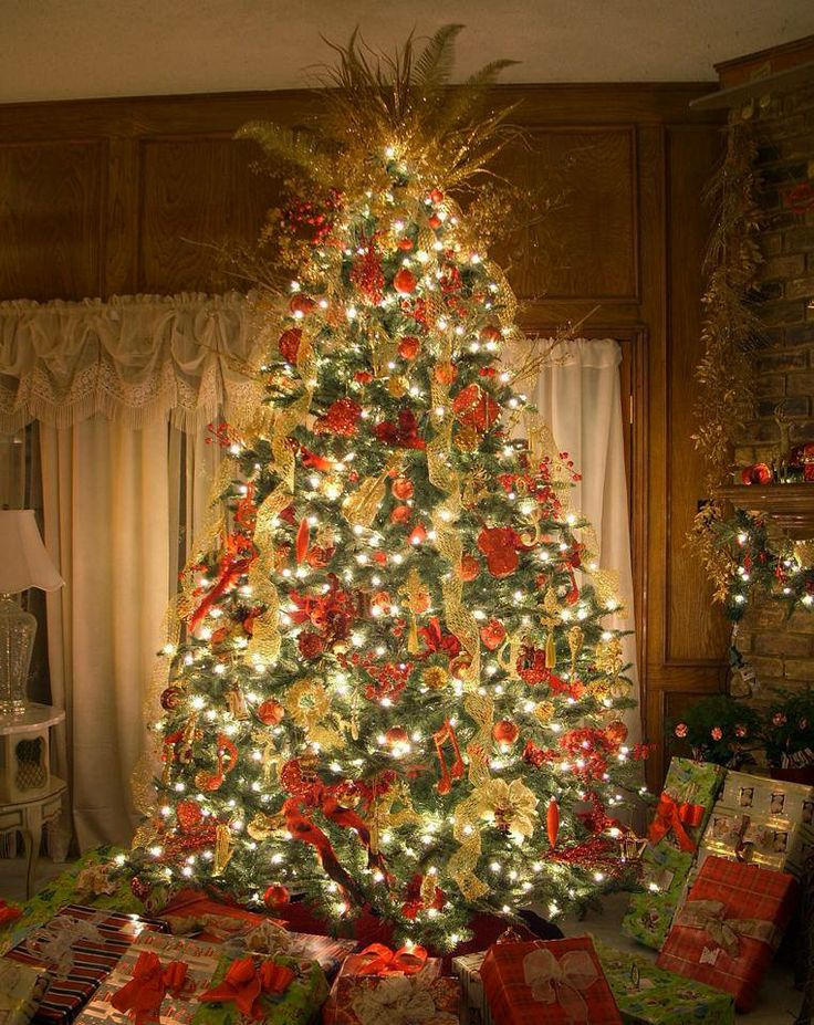 Red gold christmas tree christmas trees pinterest for Red gold christmas tree decorating ideas
