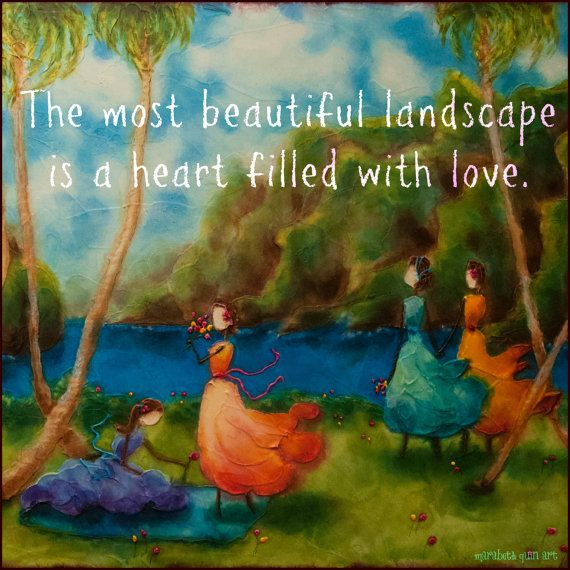 "10x10 print ""Beautiful Landscape"" of whimsical, happy and colorful girls by seaside painting by Marabeth Quin"